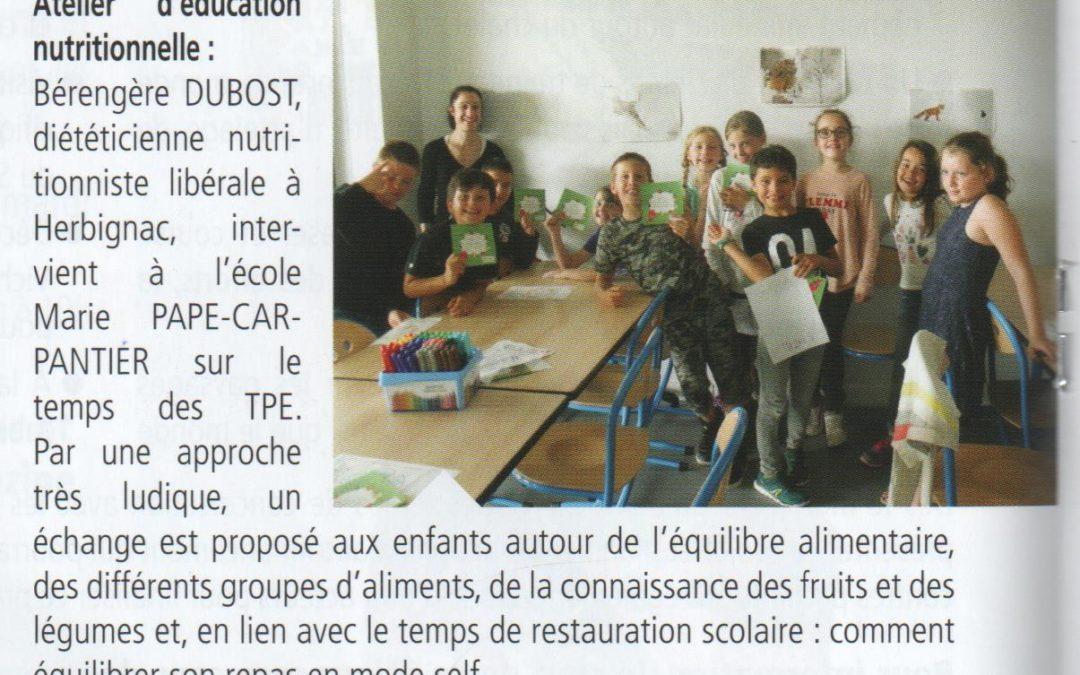 ateliers éducatifs autour de l'alimentation dans les écoles publiques d'Herbignac