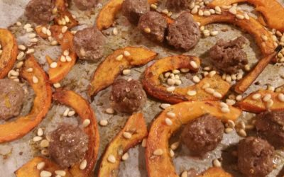 Potimarron rôti et boulettes de boeuf