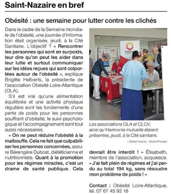 Compte rendu de la journée de l'obésité à l'hôpital de Saint Nazaire
